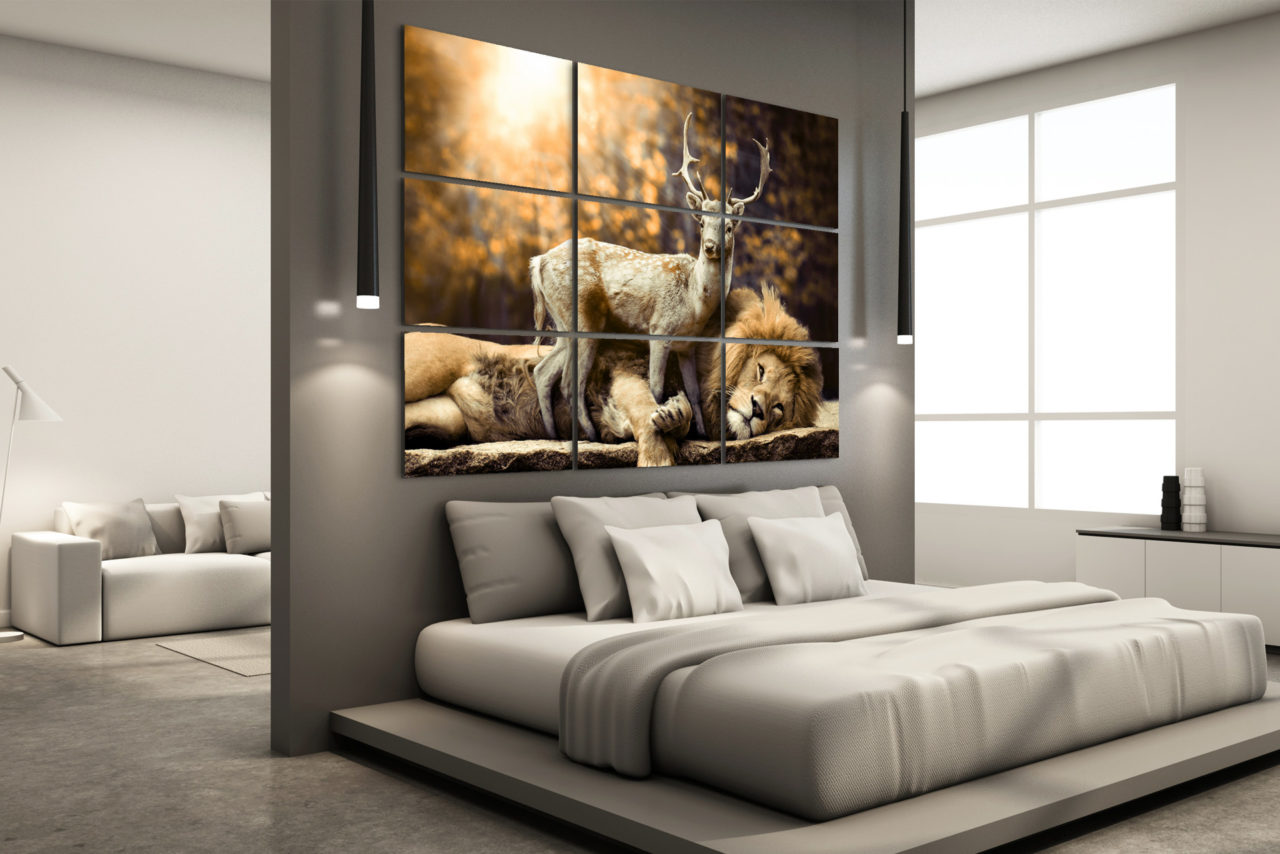 Deer and Lion Canvas Print